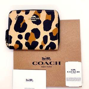 NWT Coach Animal Print Small Zip Around Wallet